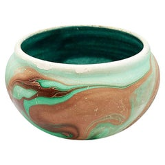 Green Swirl Ceramic Touring Pottery Folk Art Pot in Green and Brown