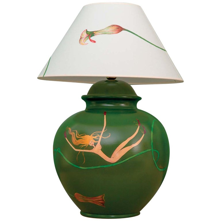 Green Table Lamp For Sale