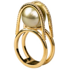 Green Tahitian Pearl Ring with Diamonds