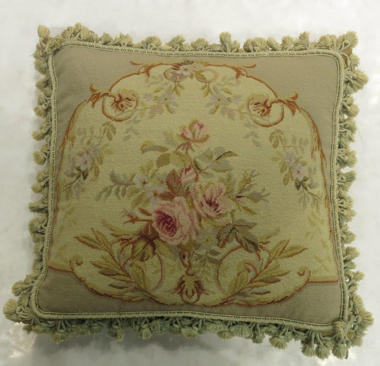 Green Tassel 19th Century Antique French Aubusson Pillow In Good Condition For Sale In New York, NY