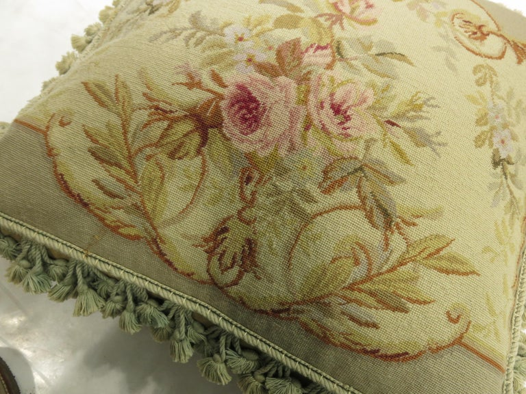 Green Tassel 19th Century Antique French Aubusson Pillow For Sale 2