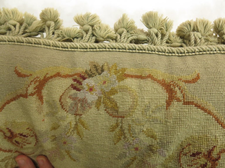 Green Tassel 19th Century Antique French Aubusson Pillow For Sale 3