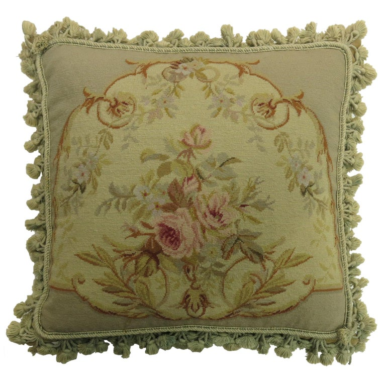 Green Tassel 19th Century Antique French Aubusson Pillow For Sale
