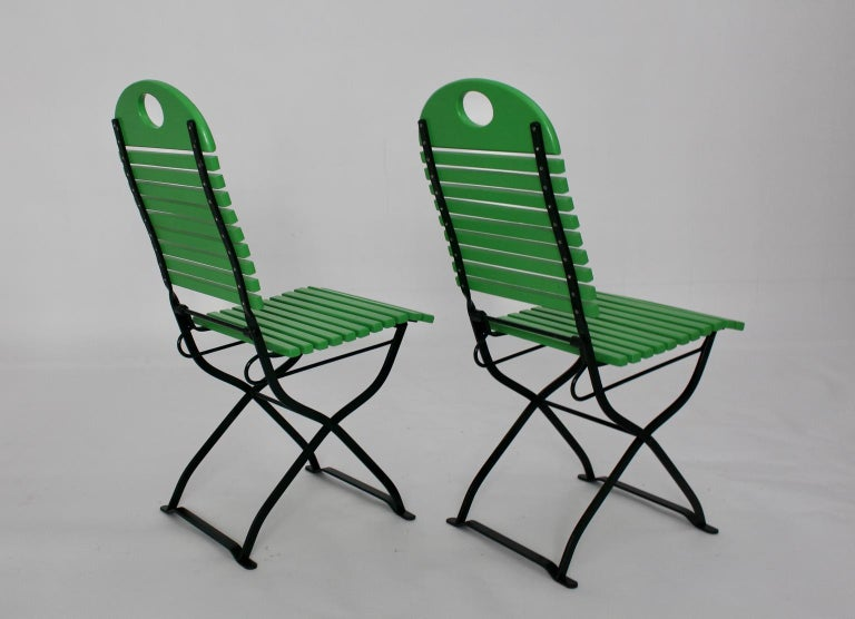 Green Ten Vintage Wood Metal Foldable Garden Patio Dining Chairs, 1980s For Sale 4