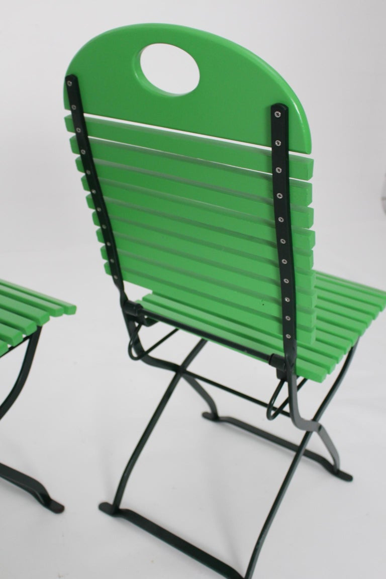 Green Ten Vintage Wood Metal Foldable Garden Patio Dining Chairs, 1980s For Sale 5