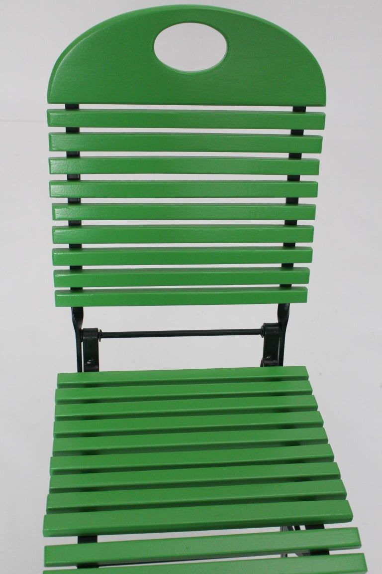Green Ten Vintage Wood Metal Foldable Garden Patio Dining Chairs, 1980s For Sale 7