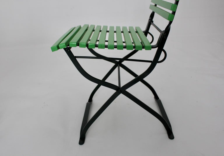 Green Ten Vintage Wood Metal Foldable Garden Patio Dining Chairs, 1980s For Sale 8