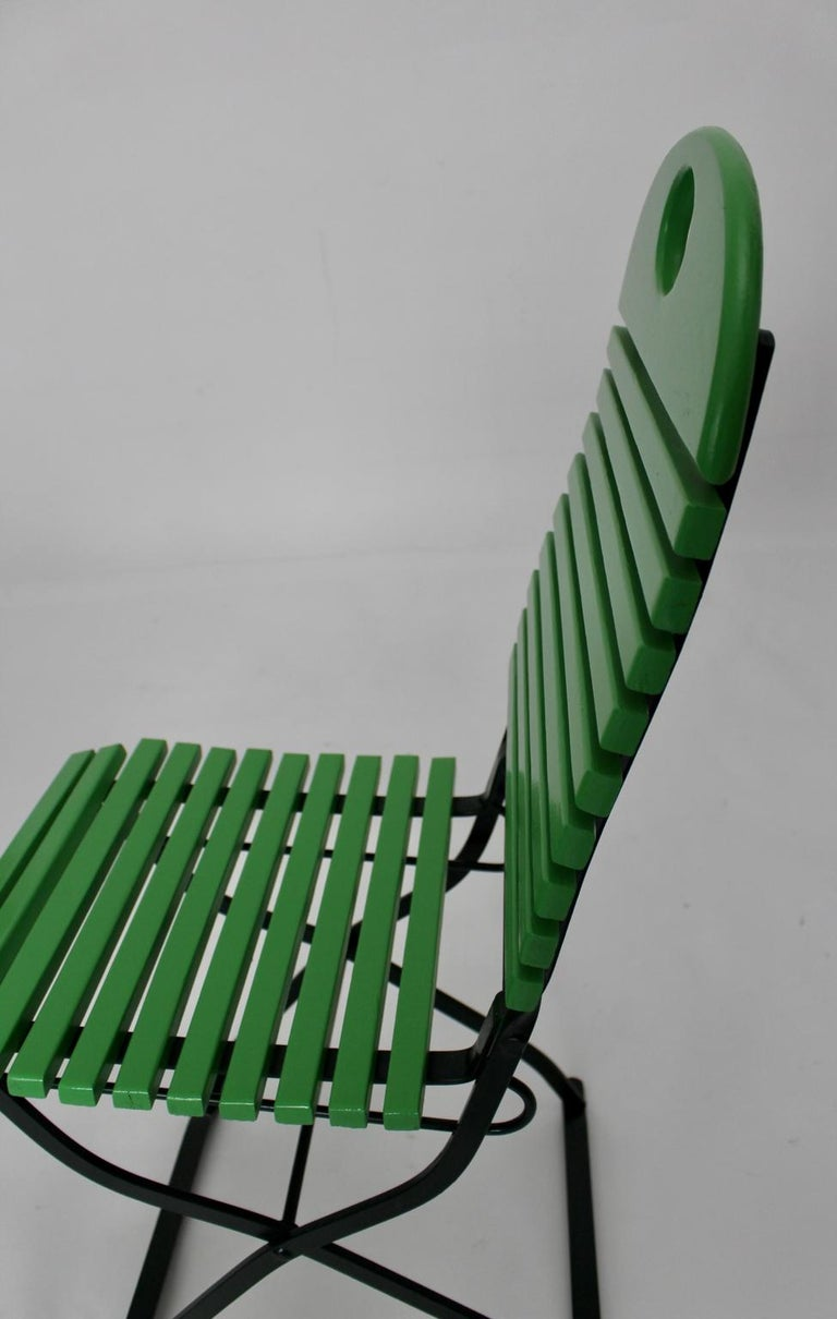 Green Ten Vintage Wood Metal Foldable Garden Patio Dining Chairs, 1980s For Sale 9