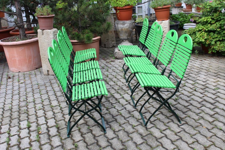 Lacquered Green Ten Vintage Wood Metal Foldable Garden Patio Dining Chairs, 1980s For Sale