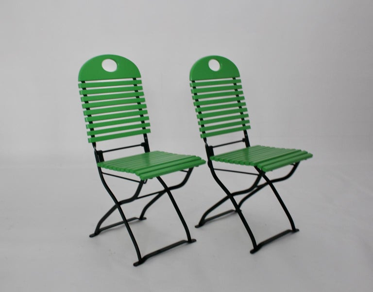 Green Ten Vintage Wood Metal Foldable Garden Patio Dining Chairs, 1980s For Sale 1