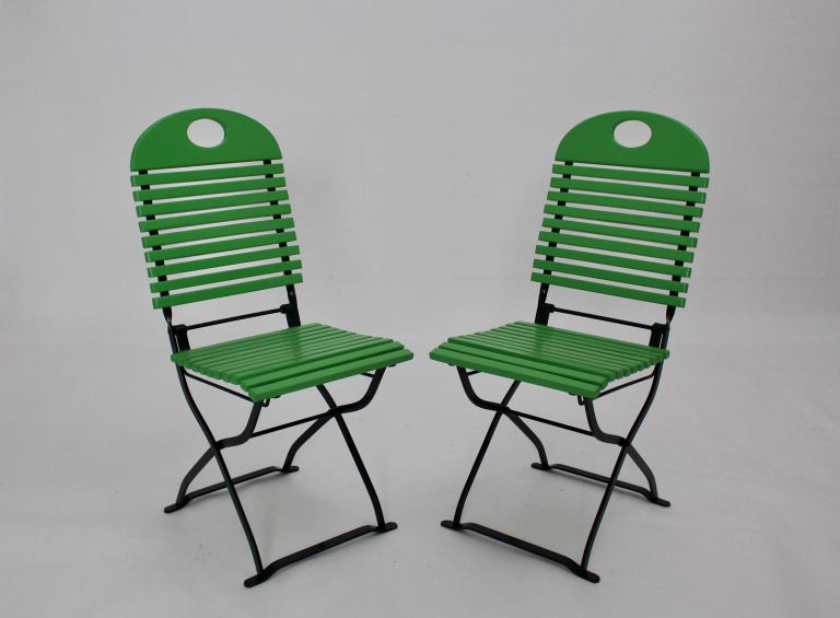 Green Ten Vintage Wood Metal Foldable Garden Patio Dining Chairs, 1980s For Sale 2
