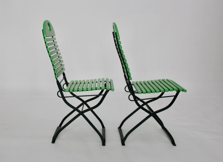 Green Ten Vintage Wood Metal Foldable Garden Patio Dining Chairs, 1980s For Sale 3