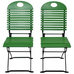 Green Ten Vintage Wood Metal Foldable Garden Patio Dining Chairs, 1980s