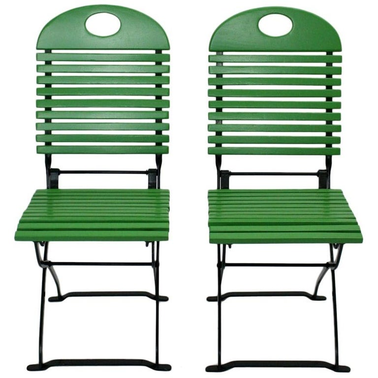 Green Ten Vintage Wood Metal Foldable Garden Patio Dining Chairs, 1980s For Sale