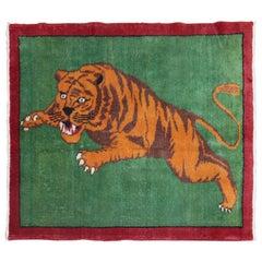 Green Tiger Pictorial Turkish 20th Century Wool Rug