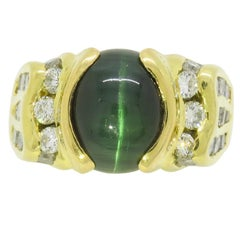 Green Tiger's Eye and Diamond Cocktail Ring