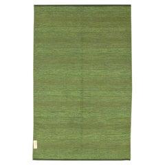 Green Tones Vintage Swedish Wool Kilim, ca. 1950