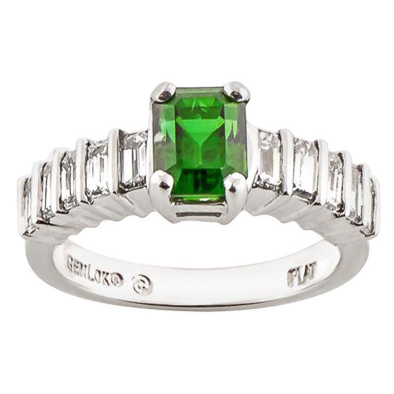 Green Tourmaline 1.06 Carat Diamond Platinum Ring For Sale