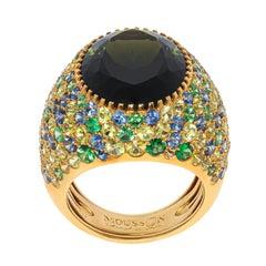 Green Tourmaline 11.94 Carat Sapphires 18 Karat Yellow Gold Riviera Ring