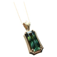 Green Tourmaline 14 Karat Yellow Gold Pendant