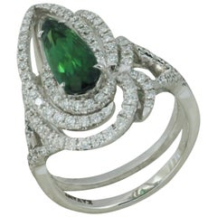 Green Tourmaline 1.45 Carat with Diamond 0.62 Ct Ring in 18k White Gold Settings