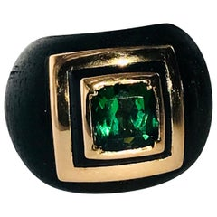 Green Tourmaline, 18 Karat Rose Gold and Ebony Pinky Ring