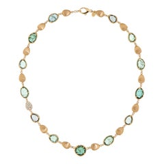 Green Tourmaline 18k Diamonds Rose Gold Necklace for Her
