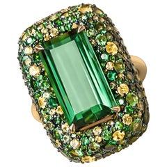 Green Tourmaline 19 Carat Yellow Sapphires Tsavorites Yellow Gold Cocktail Ring