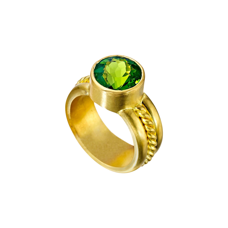 Green Tourmaline 22 Karat Gold Ring