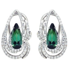 Green Tourmaline 2.92 Carat, Diamond 0.96 ct Earrings in 18k White Gold Settings
