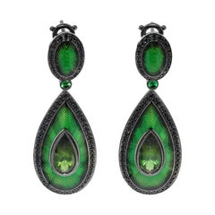 Green Tourmaline 3.64 Carat Black Sapphire 18 Karat Black Gold Enamel Earrings