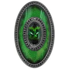 Green Tourmaline 5.15 Carat Black Sapphire 18 Karat Black Gold Enamel Ring