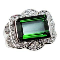 Green Tourmaline 7.36 Carat Emerald Cut and Pave Diamond Platinum Ring