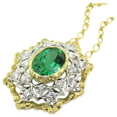 Green Tourmaline and 18 Karat Gold Florentine Engraved Necklace, Made in Italy