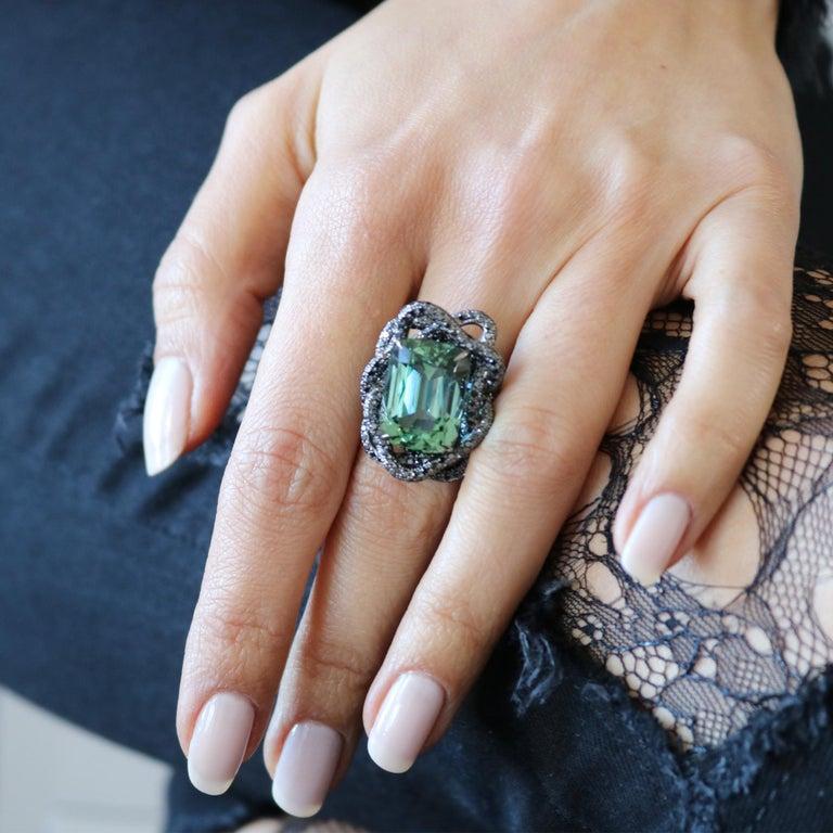 Cushion Cut Green Tourmaline and Black Diamond Ring in 18 Karat White Gold Black Rhodium For Sale