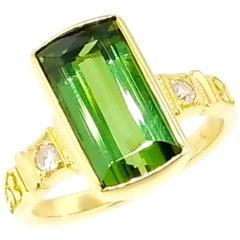 Green Tourmaline and Diamond 18 Karat Ivy Ring by Dan Peligrad