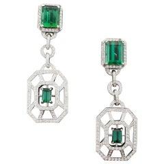 Green Tourmaline and Diamond Dangling Earrings in 18 Karat White Gold
