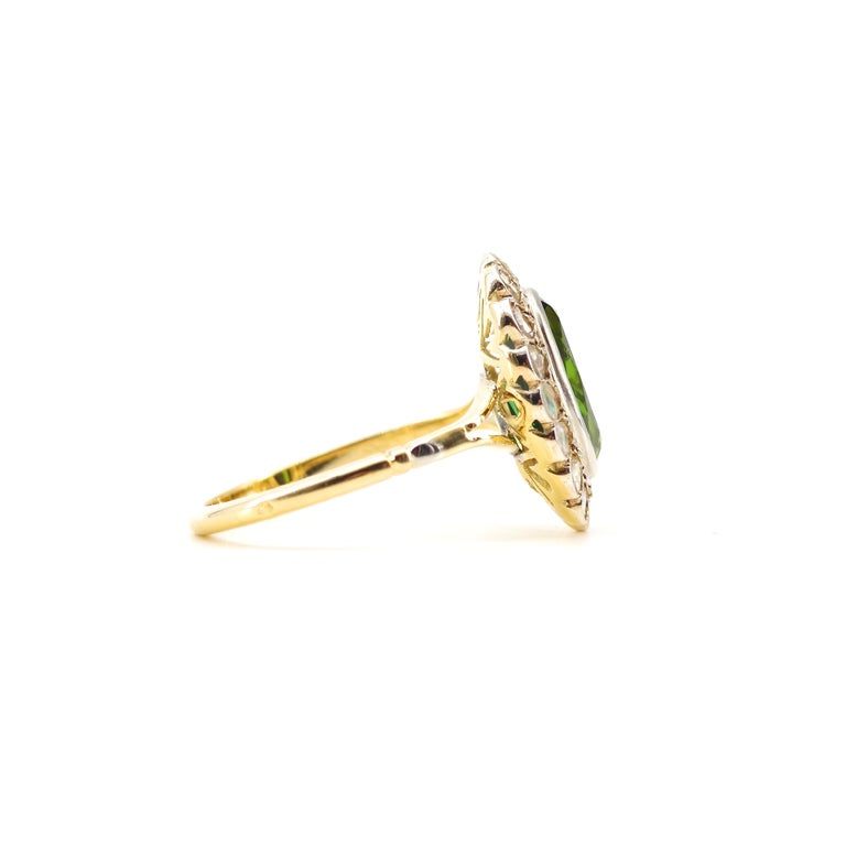 Victorian Tourmaline Halo Ring with Diamonds For Sale 10