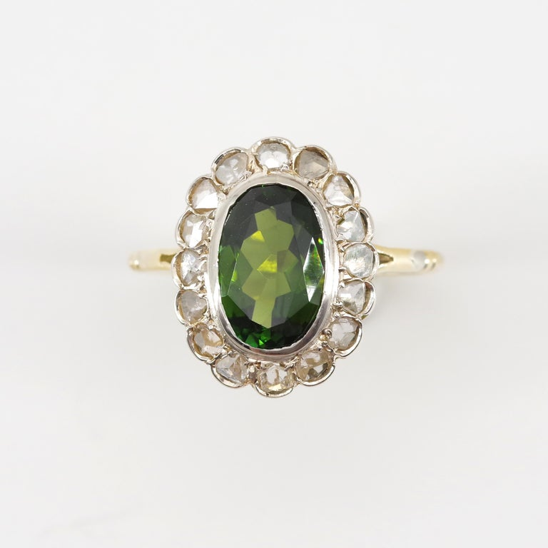 Victorian Tourmaline Halo Ring with Diamonds For Sale 11