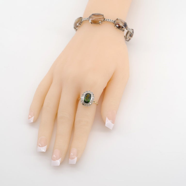 Victorian Tourmaline Halo Ring with Diamonds For Sale 12