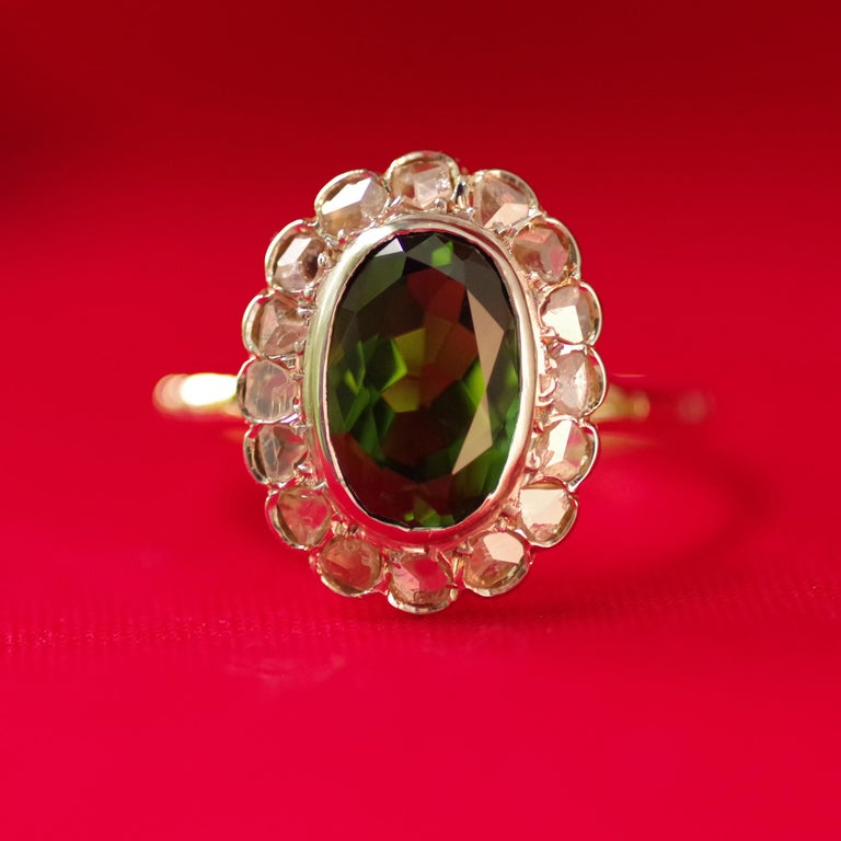 Victorian Tourmaline Halo Ring with Diamonds For Sale 13