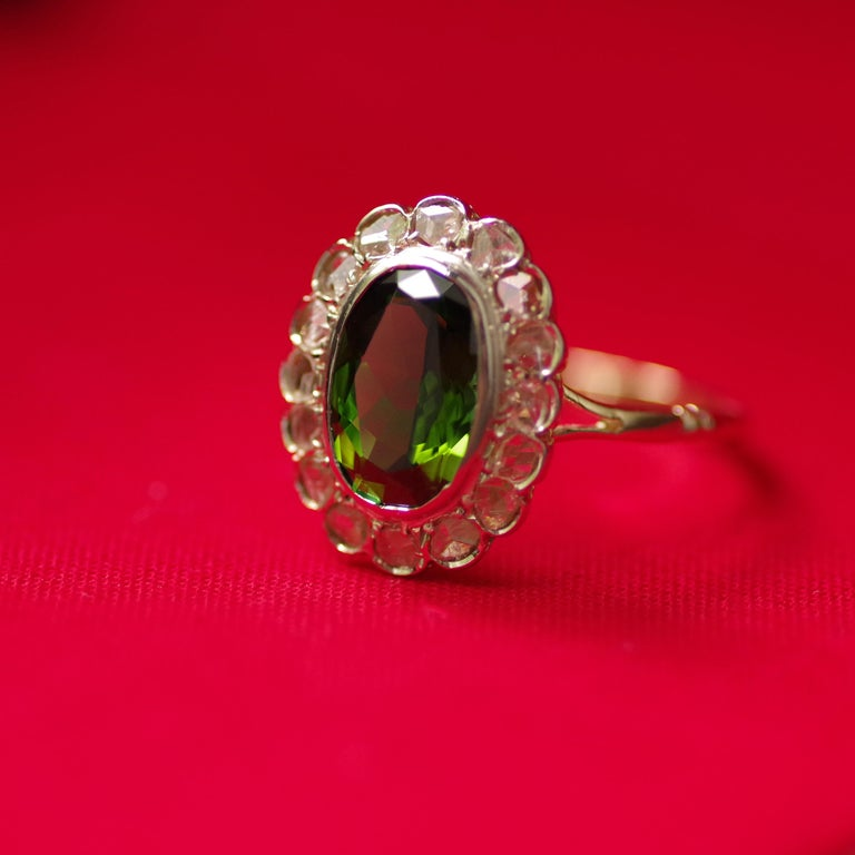 Victorian Tourmaline Halo Ring with Diamonds For Sale 14