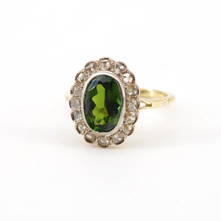 Victorian Tourmaline Halo Ring with Diamonds For Sale 3