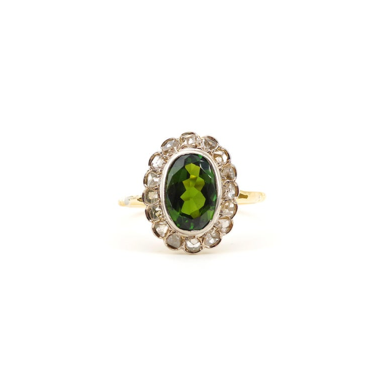 Victorian Tourmaline Halo Ring with Diamonds For Sale 4