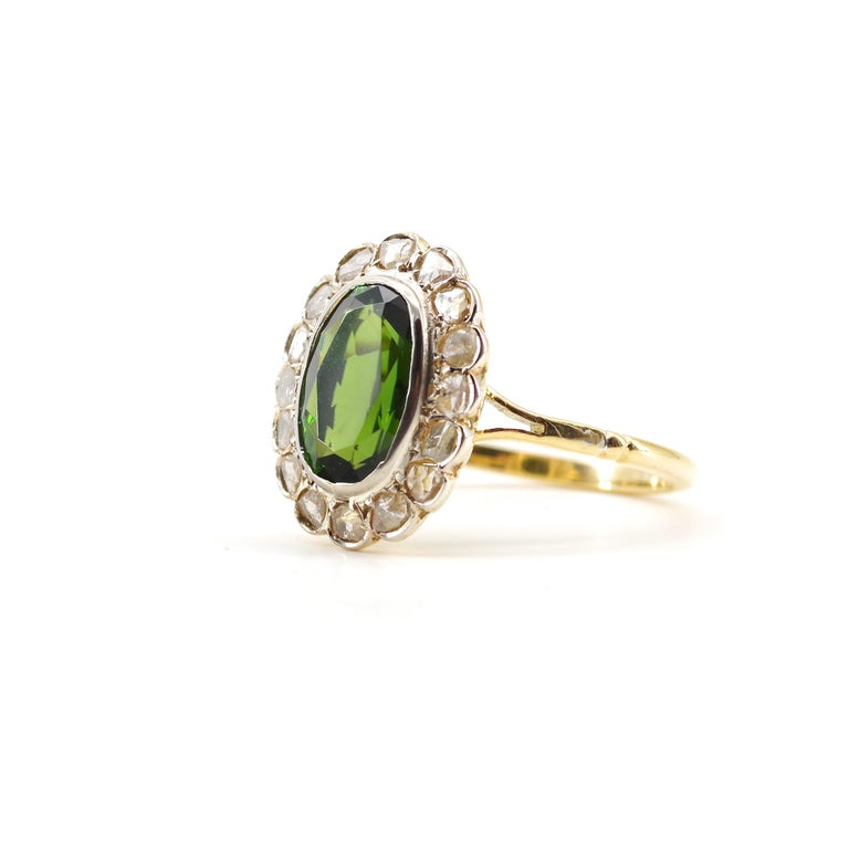 Victorian Tourmaline Halo Ring with Diamonds For Sale 6