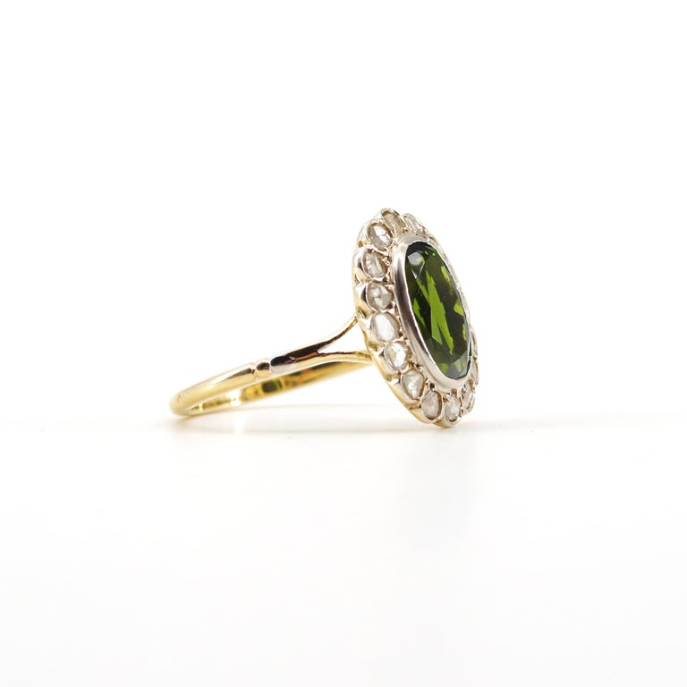 Victorian Tourmaline Halo Ring with Diamonds For Sale 7