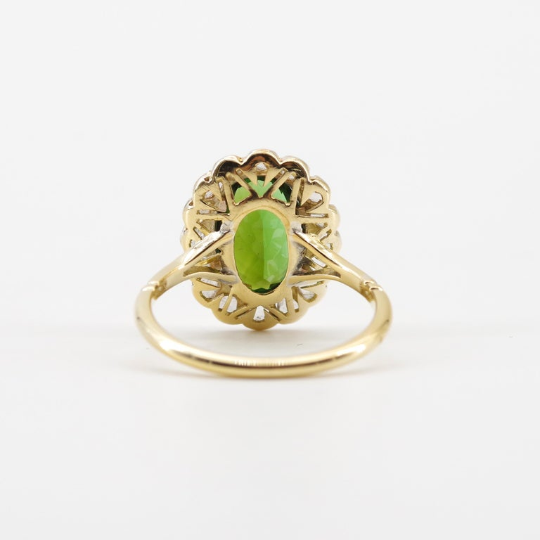 Victorian Tourmaline Halo Ring with Diamonds For Sale 8