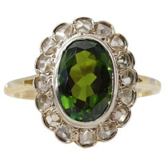 Green Tourmaline and Diamond Halo Ring from Late Victorian Era