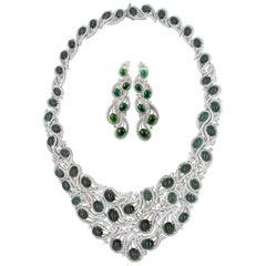 Green Tourmaline and Diamond Jewelry Set 160 Carat Tourmalines & 18cts Diamonds