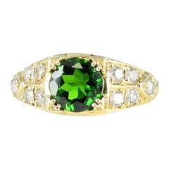 Green Tourmaline and Diamond Ring Set in 18 Karat Yellow Gold